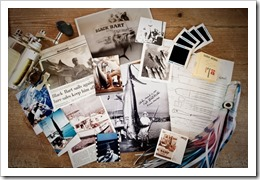 A collage of Captain Bart Miller containing old photos, lure sketches, newspaper clippings and a Black Bart lure taken at his home in Jupiter, Florida.