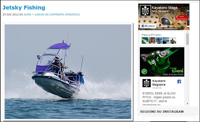 JETSKY FISHING su Kayakero blog 2012
