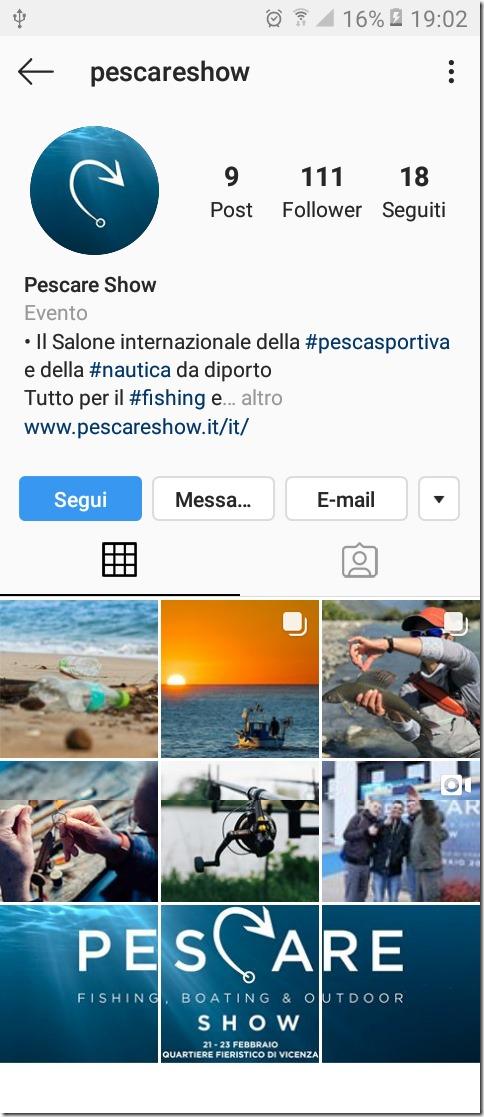 PESCARE SHOW Instagram pag smartphone