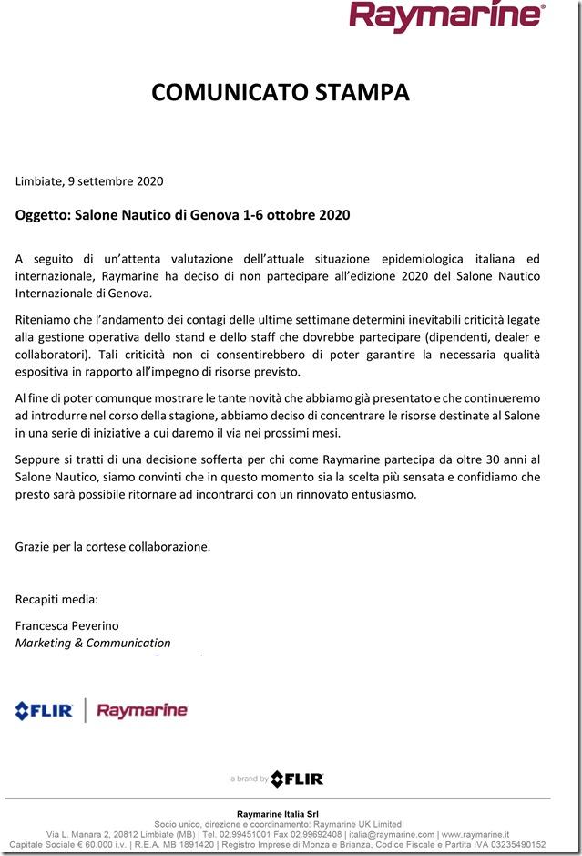 Microsoft Word - COMUNICATO STAMPA RAYMARINE - Salone di Genova 2020.docx